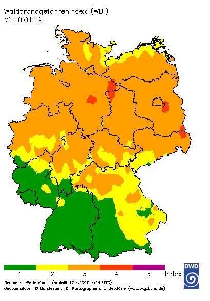 Der Waldbrandgefahrenindex des DWD am 10.04.2019