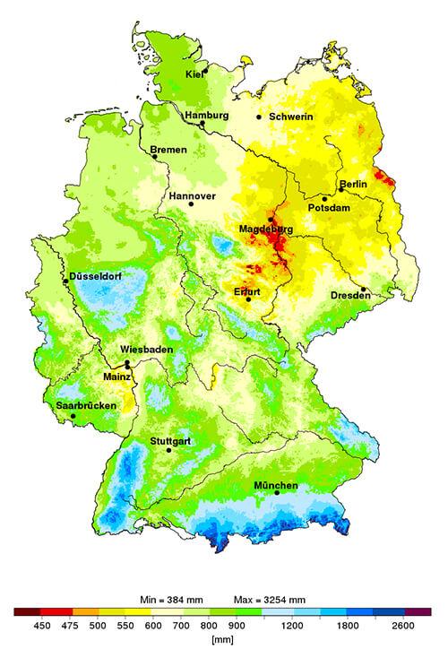 Niederschlagskarte DWD
