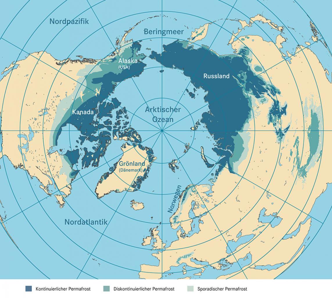 Karte der Permafrostböden