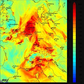 Die berechneten Ozonwerte für Zentraleuropa am Dienstag, den 25.06.2019