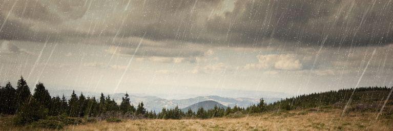 Herbstregen und böiger Wind