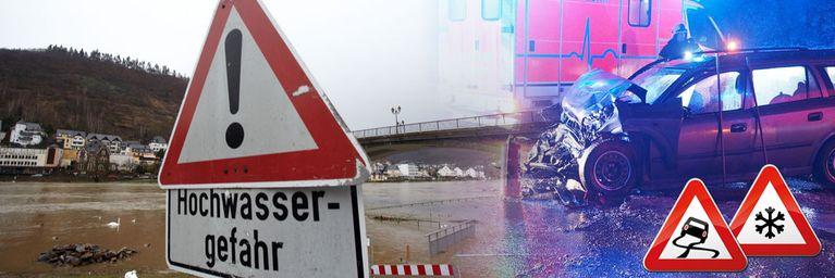 Warnung! Schneeglätte, Föhnsturm und Überflutungen!