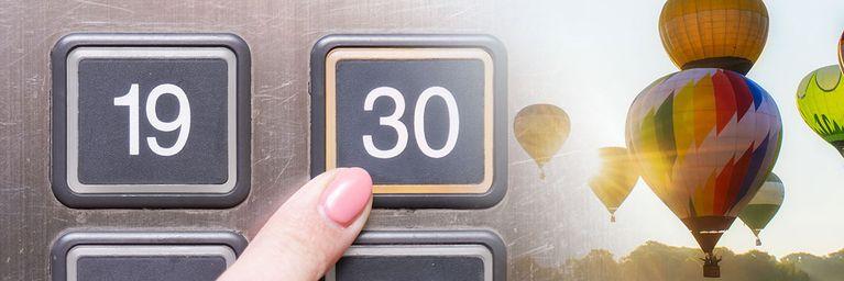 Temperaturen im Fahrstuhl nach oben