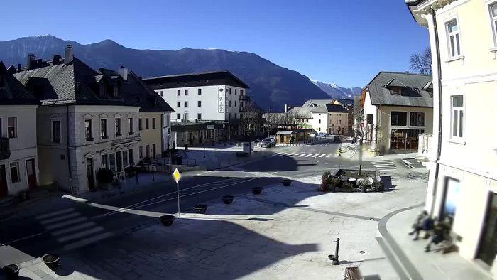 HD Live Webcam Main square in Bovec