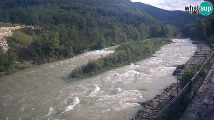 HD Live Webcam Soča River at Solkan Kayak Center