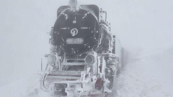 Ein Zug der Brockenbahn steckt derzeit im Schnee fest.