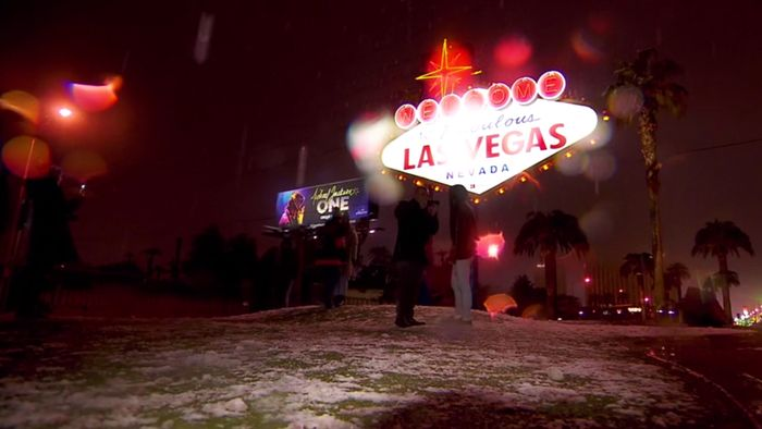 Highlight! Schnee in Wüstenstadt Las Vegas