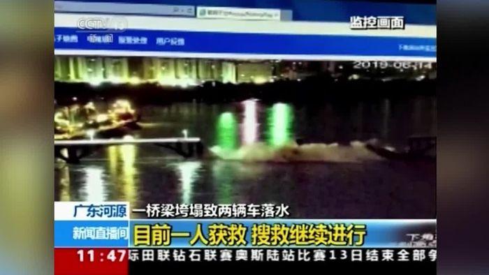 Brücke in China stürzt ein - Überwachungskamera filmt mit