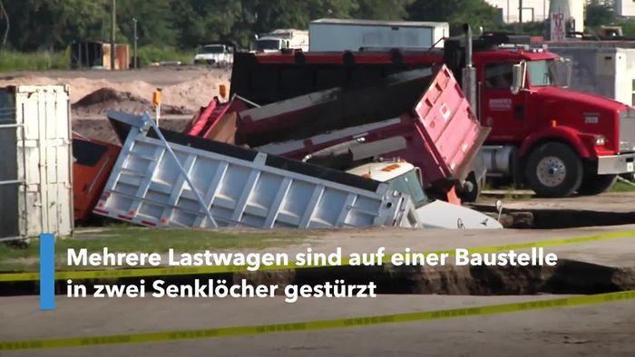 Riesige Senklöcher: Lastwagen einfach verschluckt