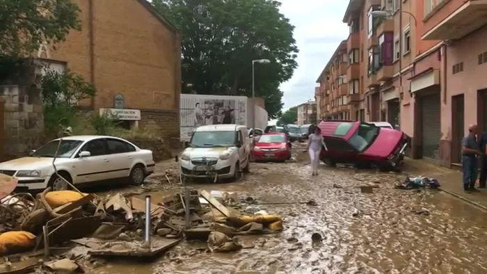 Sturzflut! Teile Nordspaniens ein Katastrophengebiet