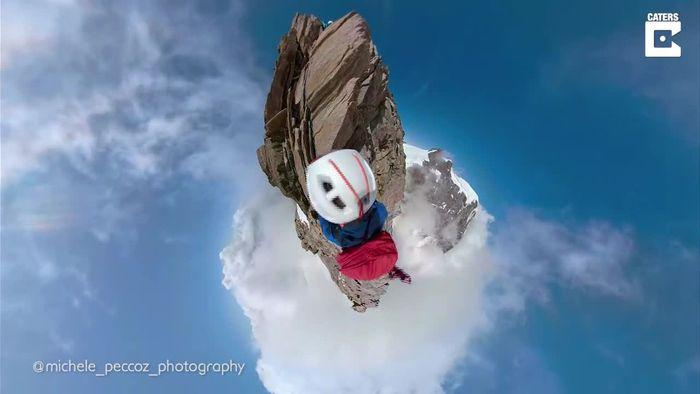 Atemberaubend und schwindelerregend: Kletterer filmt sich in den Alpen