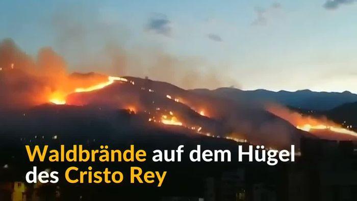 Brand umzingelt berühmte Cristo Rey Statue in Kolumbien