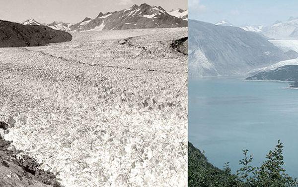 Der Muir-Gletscher in Alaska. Links eine Aufnahme aus dem August 1941, rechts eine aus dem August 2004.