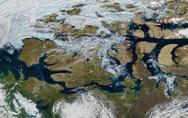 Die Nordwestpassage, aufgenommen aus dem Weltall am 9. August 2016.