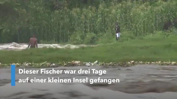 Auf Insel gestrandet: Überschwemmung zwingt Mann zum Überlebenskampf