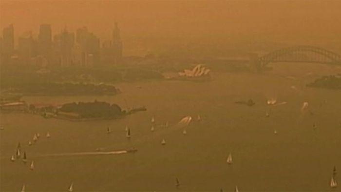 Beißender Rauch: Sydney erscheint orange