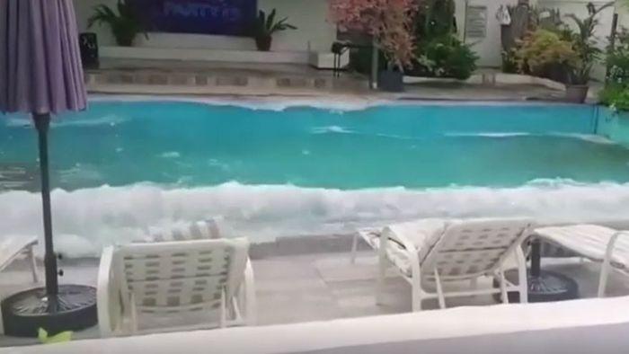Erdbeben erschüttert die Philippinen: Pool wird zum Wellenbad