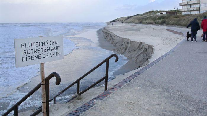 Sturmflutserie: Badestrand auf Wangerooge zerstört
