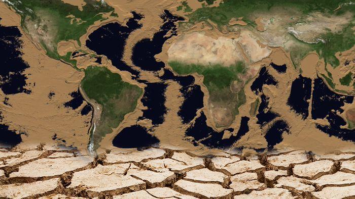 Eine NASA-Animation zeigt, wie die Erde ohne Wasser aussehen würde.
