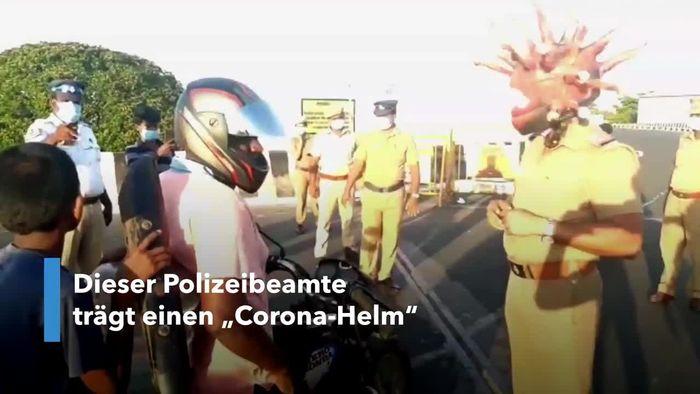 Corona auf dem Kopf: Polizist patrouilliert als Virus