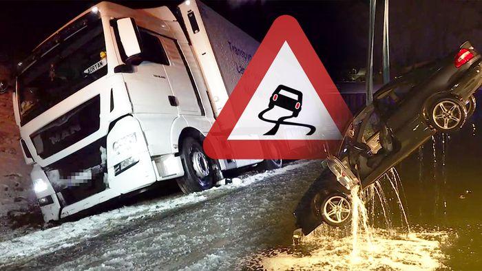 In der Nacht von Mittwoch auf Donnerstag passierten mehrere Glätteunfälle in verschiedenen Regionen.