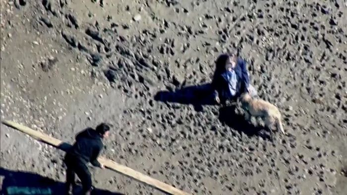 Bei Strandspaziergang: Frau versinkt plötzlich im Schlamm