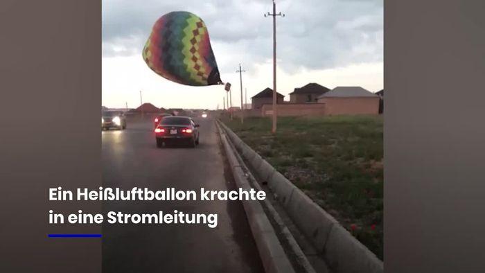 Nach Sturm: Heißluftballon kracht in Stromleitung