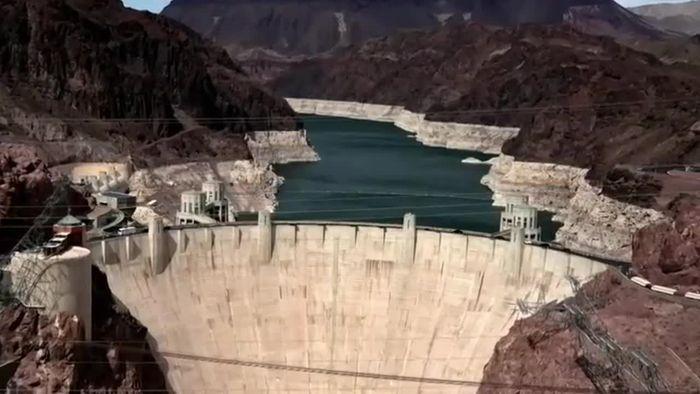 Heftige Dürre! Lake Mead am Hoover Dam sinkt auf Rekordtief