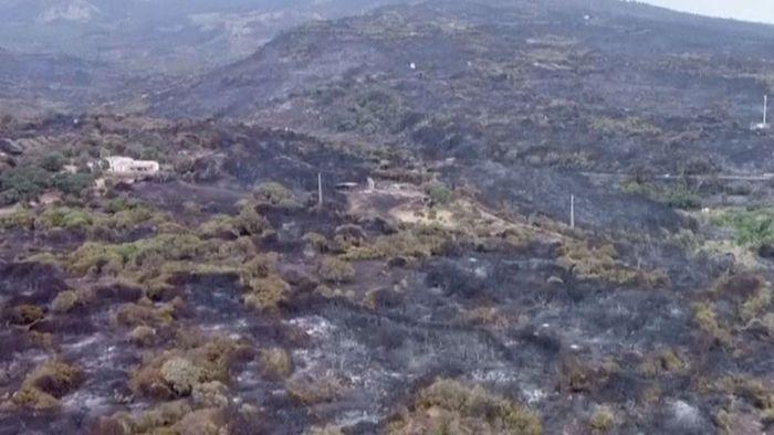 Drohnenvideo zeigt verheerende Feuerschäden auf Sardinien